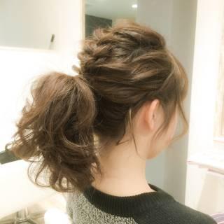 ショート ヘアアレンジ モテ髪 波ウェーブ ヘアスタイルや髪型の写真・画像