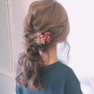 結婚式 結婚式ヘアアレンジ ローポニーテール ヘアアレンジ ヘアスタイルや髪型の写真・画像