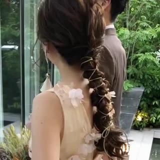 結婚式ヘアアレンジ ヘアアレンジ ゆるナチュラル おしゃれさんと繋がりたい ヘアスタイルや髪型の写真・画像