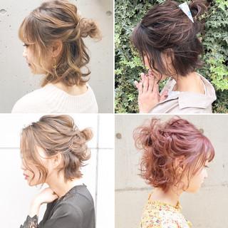 簡単ヘアアレンジ ボブ ナチュラル アンニュイほつれヘア ヘアスタイルや髪型の写真・画像 ヘアスタイルや髪型の写真・画像