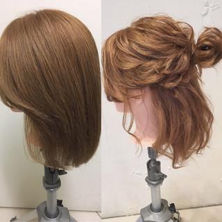 結婚式 ゆるふわ ミディアム 大人かわいい ヘアスタイルや髪型の写真・画像