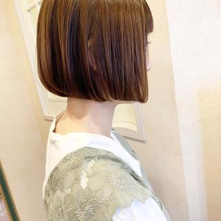 小顔ヘア ナチュラル ボブ ミニボブ ヘアスタイルや髪型の写真・画像