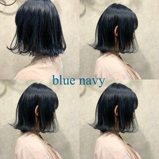 ブルー ネイビー コリアンネイビー ストリート ヘアスタイルや髪型の写真・画像