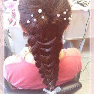 編み込み ロング くるりんぱ ショート ヘアスタイルや髪型の写真・画像