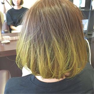 ハイトーン ダブルカラー グラデーションカラー ボブ ヘアスタイルや髪型の写真・画像