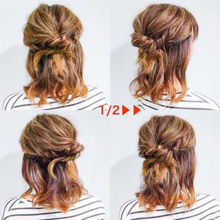 簡単ヘアアレンジ オフィス エレガント アウトドア ヘアスタイルや髪型の写真・画像