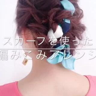 リゾート フェミニン ヘアアレンジ 編み込み ヘアスタイルや髪型の写真・画像