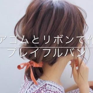 簡単ヘアアレンジ ヘアアレンジ お団子ヘア フェミニン ヘアスタイルや髪型の写真・画像