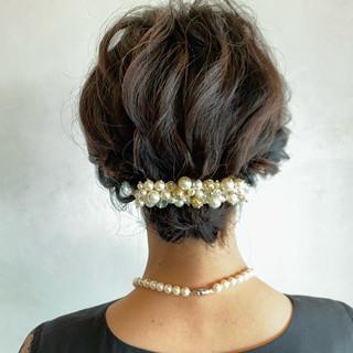 ショートボブ 簡単ヘアアレンジ 結婚式 エレガント ヘアスタイルや髪型の写真・画像 ヘアスタイルや髪型の写真・画像