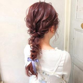 簡単ヘアアレンジ 編み込み パーティ ナチュラル ヘアスタイルや髪型の写真・画像