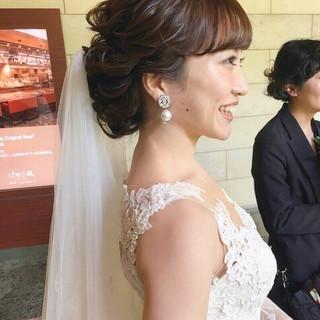 大人かわいい ミディアム 結婚式ヘアアレンジ フェミニン ヘアスタイルや髪型の写真・画像