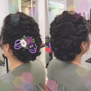 編み込み 結婚式 上品 ヘアアレンジ ヘアスタイルや髪型の写真・画像