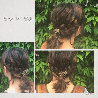 ハーフアップ フェミニン ボブ ヘアアレンジ ヘアスタイルや髪型の写真・画像 ヘアスタイルや髪型の写真・画像