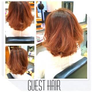 レッド グラデーションカラー 秋 ピンク ヘアスタイルや髪型の写真・画像