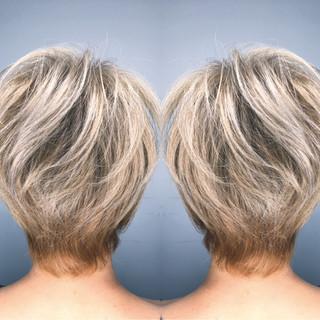 モード ハイライト ショート ハイトーン ヘアスタイルや髪型の写真・画像