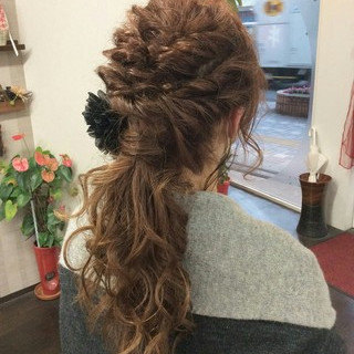 ヘアアレンジ ナチュラル ロング 結婚式 ヘアスタイルや髪型の写真・画像 ヘアスタイルや髪型の写真・画像