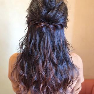 デート ロング ハーフアップ パーティ ヘアスタイルや髪型の写真・画像