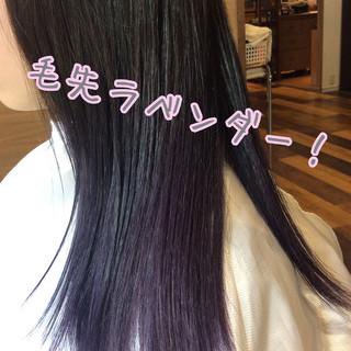 ラベンダーカラー ナチュラル可愛い セミロング グラデーションカラー ヘアスタイルや髪型の写真・画像