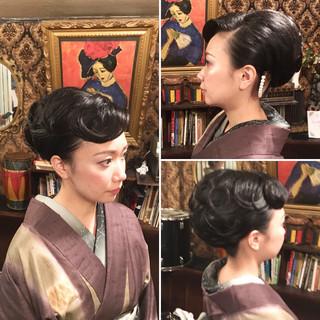 ヘアアレンジ ナチュラル 着物 セミロング ヘアスタイルや髪型の写真・画像