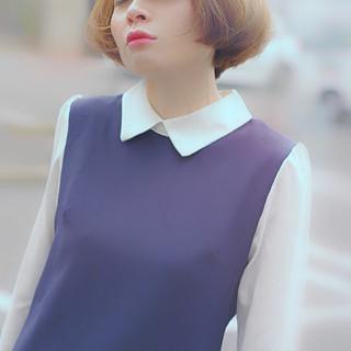 ショートヘア コンサバ モテボブ 透明感 ヘアスタイルや髪型の写真・画像
