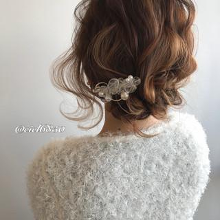 セルフヘアアレンジ ミディアム 結婚式 ヘアアレンジ ヘアスタイルや髪型の写真・画像