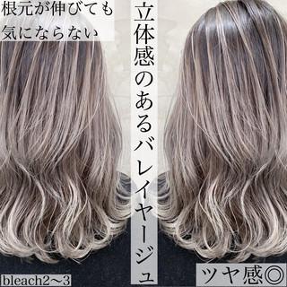 3Dハイライト ブリーチカラー ブリーチ バレイヤージュ ヘアスタイルや髪型の写真・画像