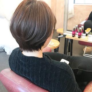 小顔ショート 小顔ヘア オフィス 小顔 ヘアスタイルや髪型の写真・画像