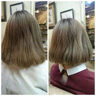 アッシュ ハイライト ストリート ボブ ヘアスタイルや髪型の写真・画像