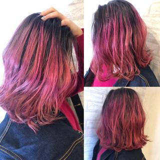 モード ボブ ピンク ベリーピンク ヘアスタイルや髪型の写真・画像