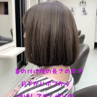 大人かわいい 透明感カラー グレージュ ボブ ヘアスタイルや髪型の写真・画像