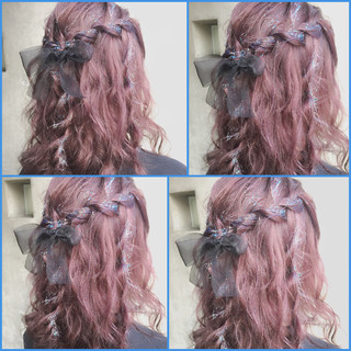 ヘアアレンジ フェミニン ゆるふわ グラデーションカラー ヘアスタイルや髪型の写真・画像