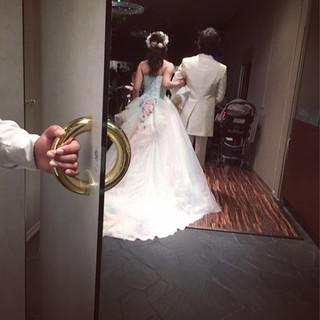 セミロング ブライダル ハーフアップ 花嫁 ヘアスタイルや髪型の写真・画像