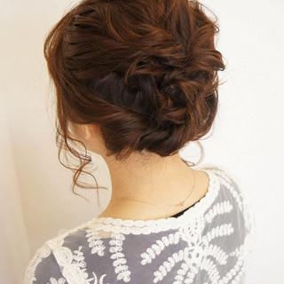 ミディアム くるりんぱ 波ウェーブ 編み込み ヘアスタイルや髪型の写真・画像 ヘアスタイルや髪型の写真・画像