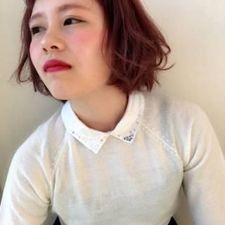 ボブ 卵型 外国人風 ピンク ヘアスタイルや髪型の写真・画像