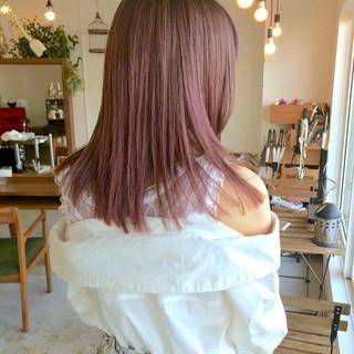 ナチュラル ピンク ダブルカラー ラベンダーピンク ヘアスタイルや髪型の写真・画像