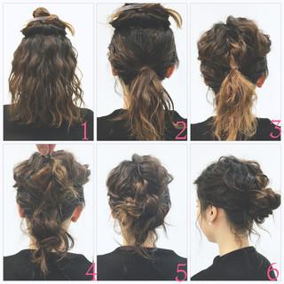 ローポニーテール ボブ ロープ編み ショート ヘアスタイルや髪型の写真・画像