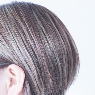 3Dハイライト ハイライト ボブ グレー ヘアスタイルや髪型の写真・画像