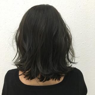 暗髪 グレー ロブ ミディアム ヘアスタイルや髪型の写真・画像