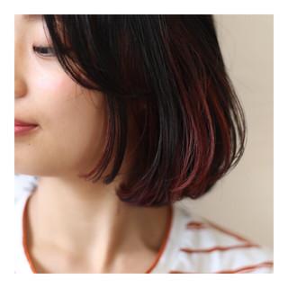 ブリーチ インナーカラー ダブルカラー レッド ヘアスタイルや髪型の写真・画像