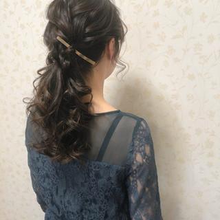 ロング ローポニー ポニーテール 結婚式 ヘアスタイルや髪型の写真・画像