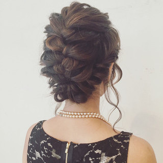 ヘアアレンジ 裏編み込み 編み込み ミディアム ヘアスタイルや髪型の写真・画像