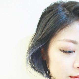 ニュアンス インナーカラー バレイヤージュ ボブ ヘアスタイルや髪型の写真・画像