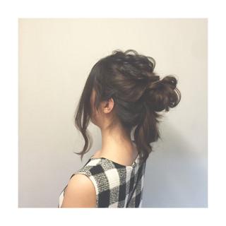 編み込み まとめ髪 ロング ゆるふわ ヘアスタイルや髪型の写真・画像