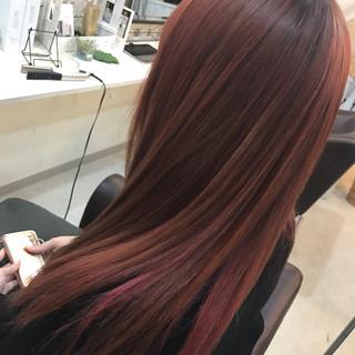 ストレート インナーカラー ストリート セミロング ヘアスタイルや髪型の写真・画像 ヘアスタイルや髪型の写真・画像