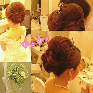 結婚式 大人かわいい ミディアム ブライダル ヘアスタイルや髪型の写真・画像