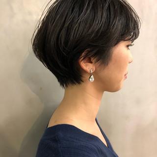 透明感 ショートボブ パーマ ショート ヘアスタイルや髪型の写真・画像
