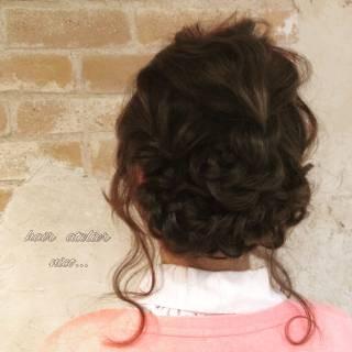 ヘアアレンジ 結婚式 ミディアム 簡単ヘアアレンジ ヘアスタイルや髪型の写真・画像