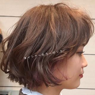 大人かわいい 透明感カラー インナーカラー ミニボブ ヘアスタイルや髪型の写真・画像
