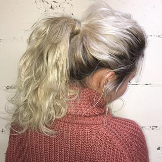ハイライト ヘアアレンジ 編み込み ロング ヘアスタイルや髪型の写真・画像