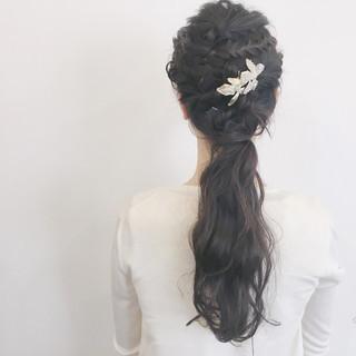 簡単ヘアアレンジ 結婚式 編み込み ロング ヘアスタイルや髪型の写真・画像 ヘアスタイルや髪型の写真・画像
